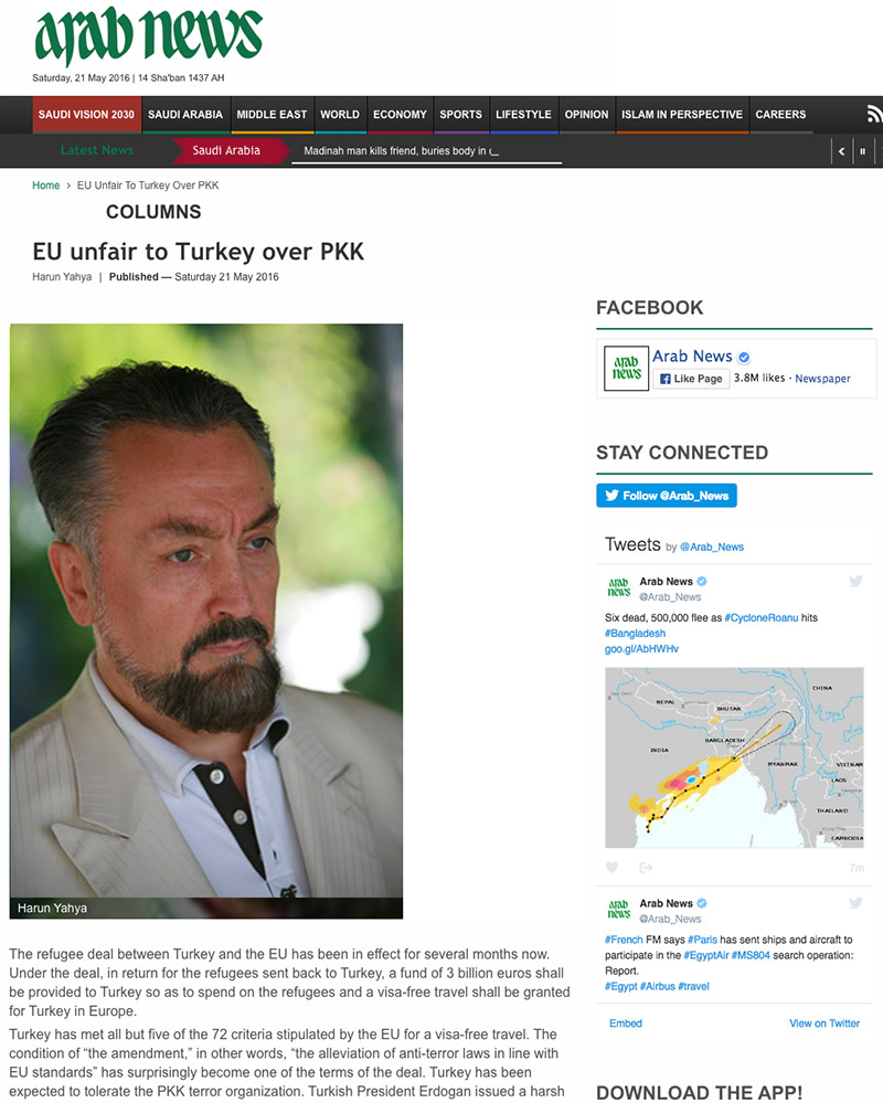 arab news_adnan_oktar_EU_unfair_to_turkey_over_pkk