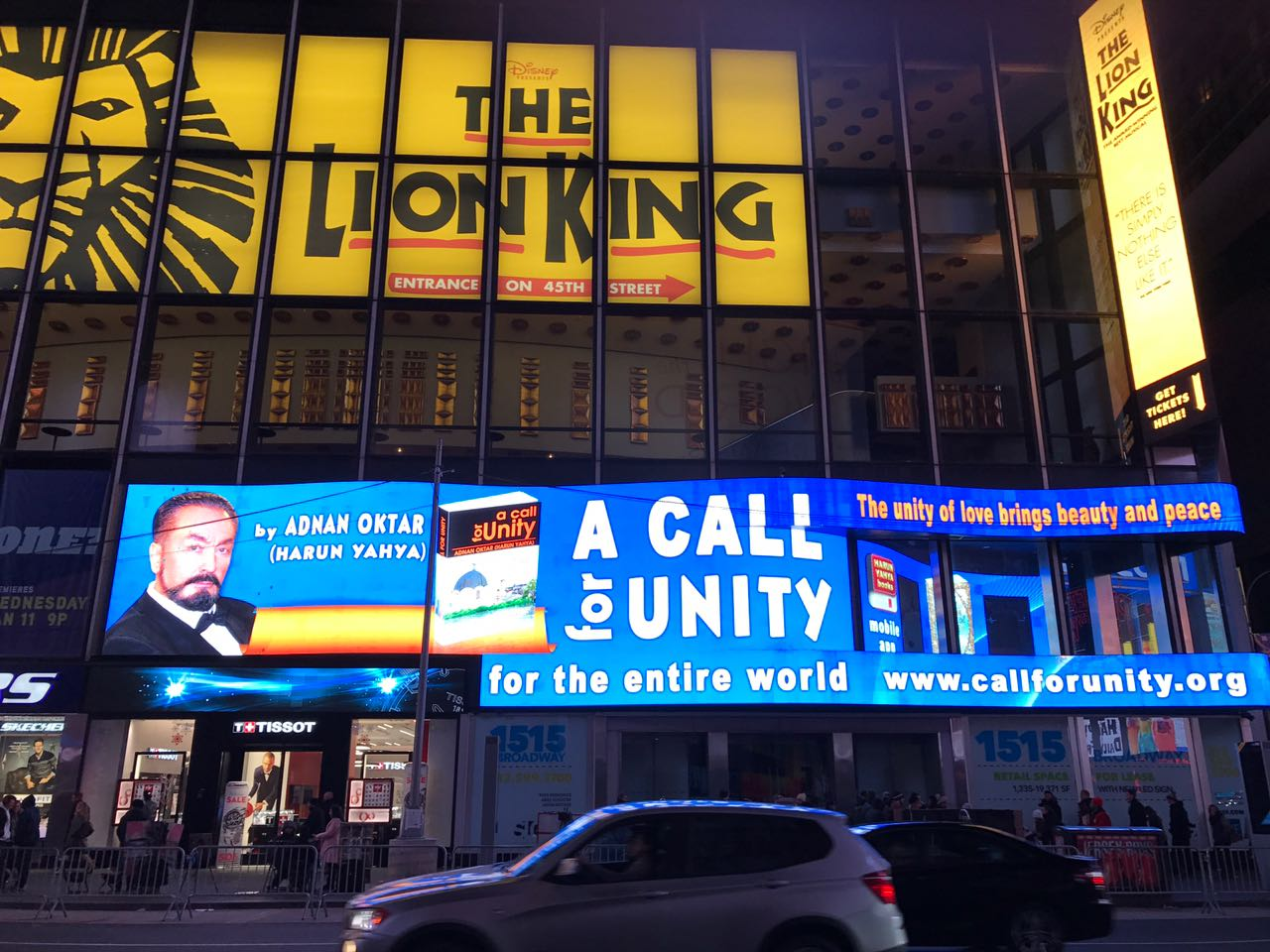 Adnan Oktar's message for 'A call for unity' at the Times Square in