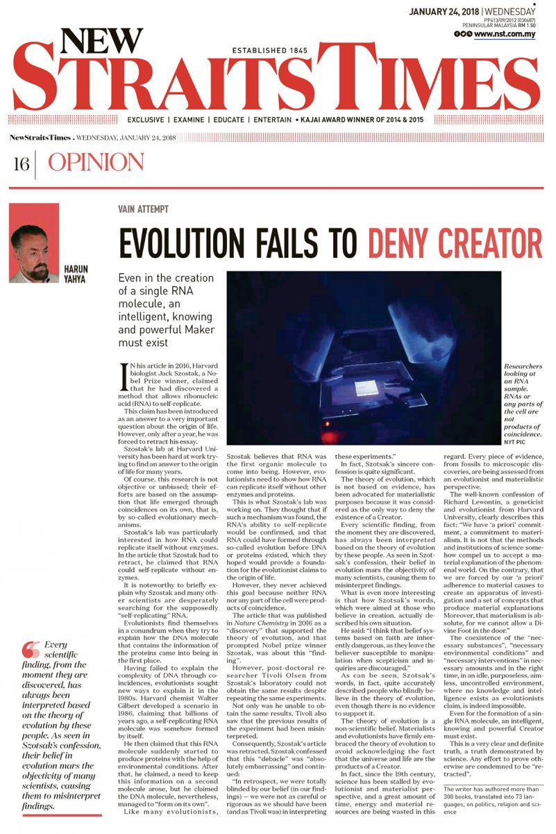 new straits_times_adnan_oktar_evolution_fails_to_deny_Creator
