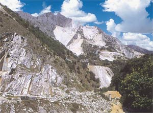 marble deposit in the Italian Alps