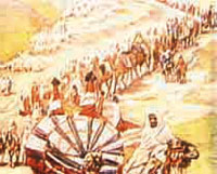 caravan's watergatherers pulling Prophet Yusuf out of the well