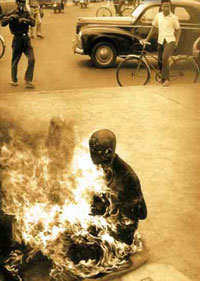 A Buddhist priest set himself on fire to protest some actions by the government in Saigon.