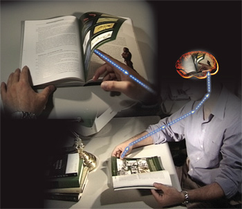 brain, book, electric signals
