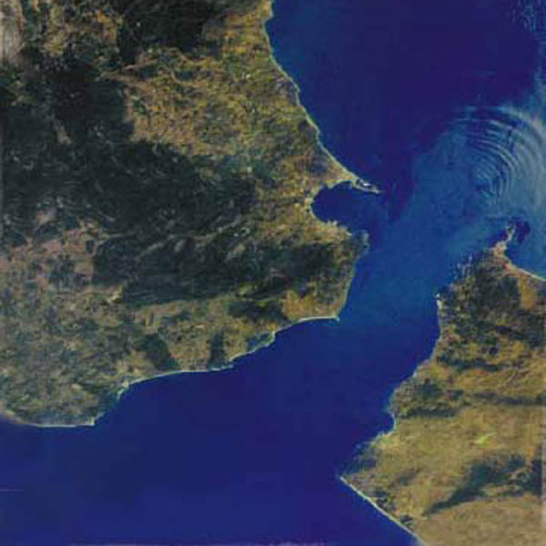 A satellite photograph of Gibraltar