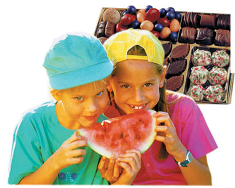 children, watermelon, chocolate, girl, boy