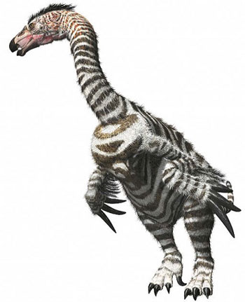 A drawing of Therizinosaurus